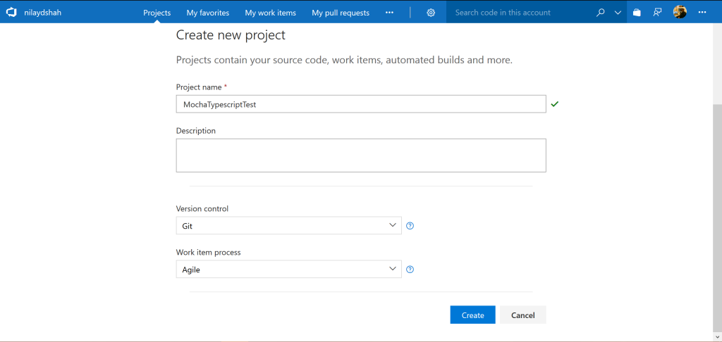 VSTS Create New Project